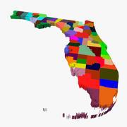 Carte du comté-Floride 3d model