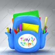 Schooltas Met notitieboekjes en potlood 3d model