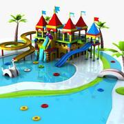 Parque aquático de desenhos animados 3d model