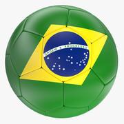 巴西足球与标志 3d model