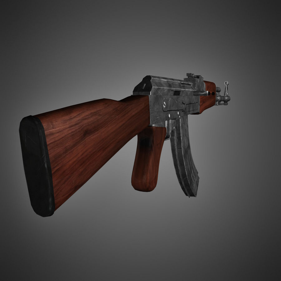 AK-47 Lowpoly royalty-free 3d model - Preview no. 4