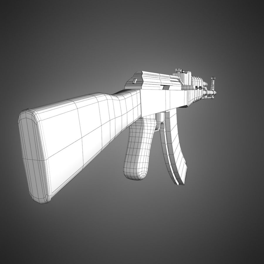 AK-47 Lowpoly royalty-free 3d model - Preview no. 12