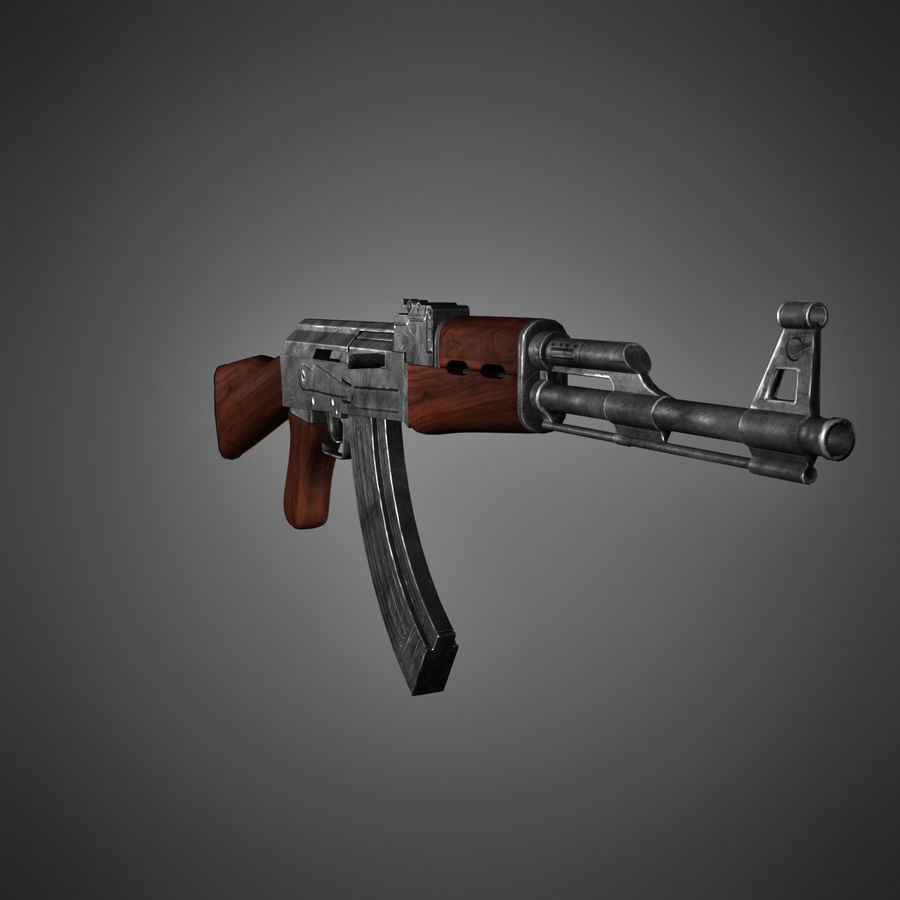 AK-47 Lowpoly royalty-free 3d model - Preview no. 3