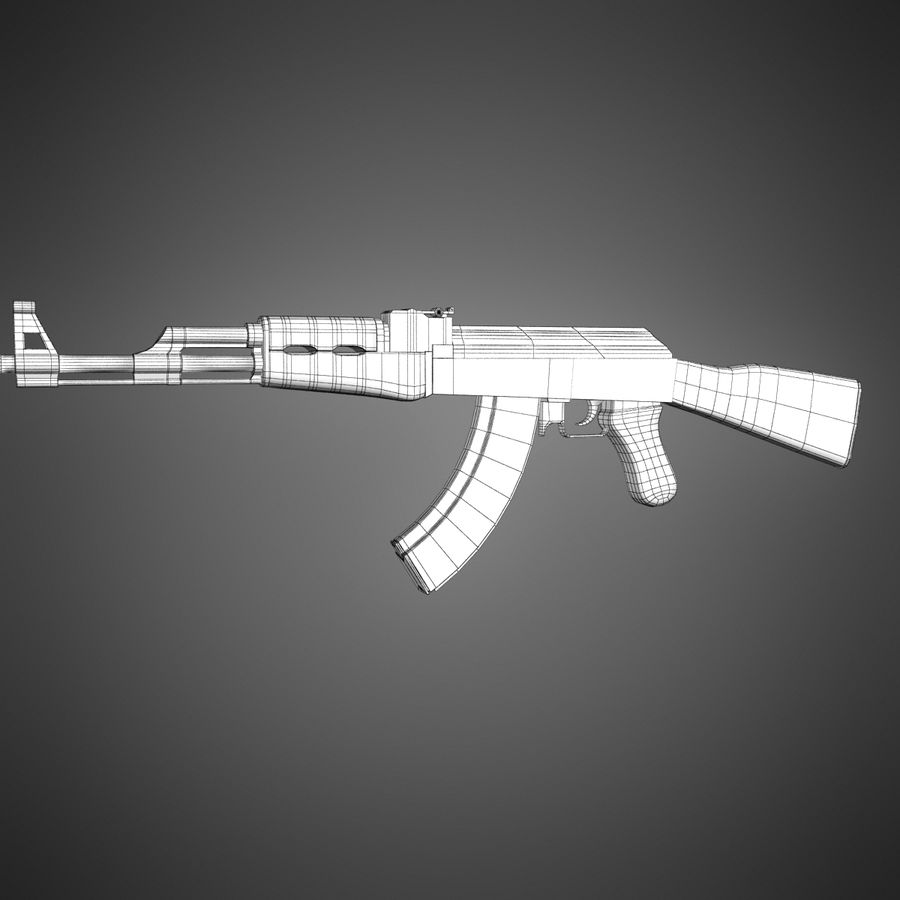 AK-47 Lowpoly royalty-free 3d model - Preview no. 13