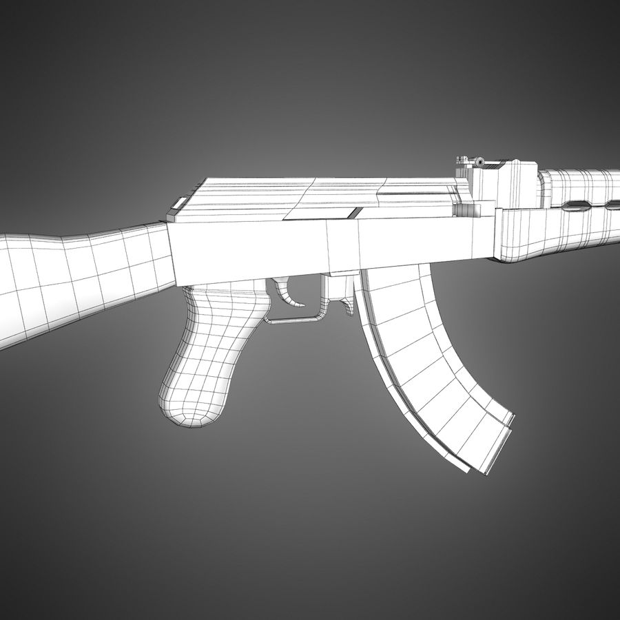 AK-47 Lowpoly royalty-free 3d model - Preview no. 10