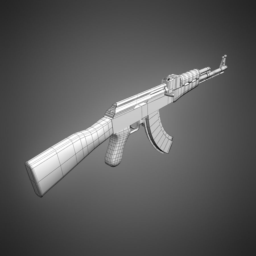 AK-47 Lowpoly royalty-free 3d model - Preview no. 15