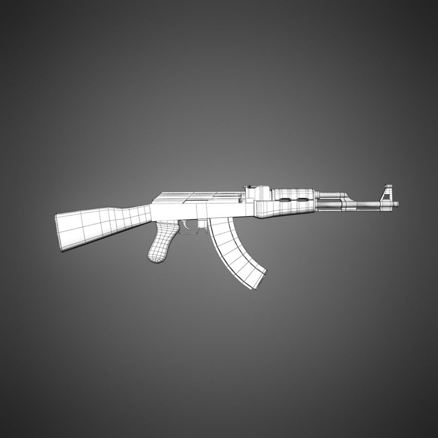 AK-47 Lowpoly royalty-free 3d model - Preview no. 9
