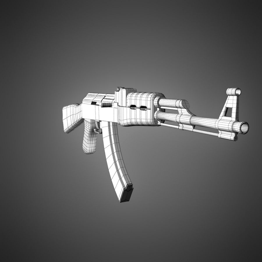 AK-47 Lowpoly royalty-free 3d model - Preview no. 11
