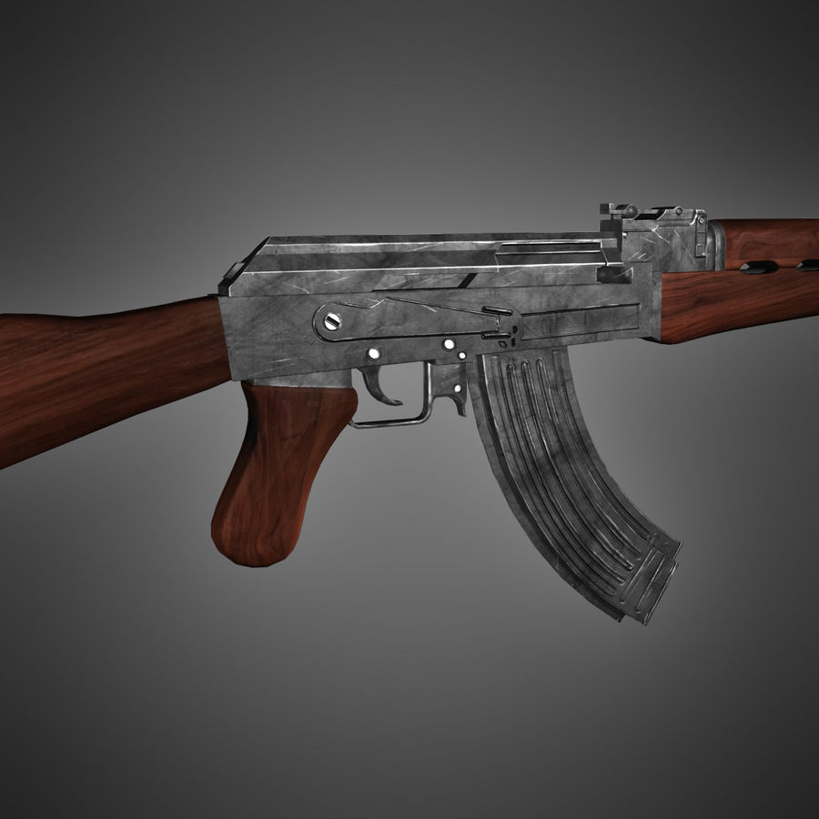 AK-47 Lowpoly royalty-free 3d model - Preview no. 2