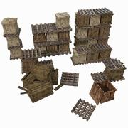 Warehouse Palette Wooden crates collection (2) (2) 3d model