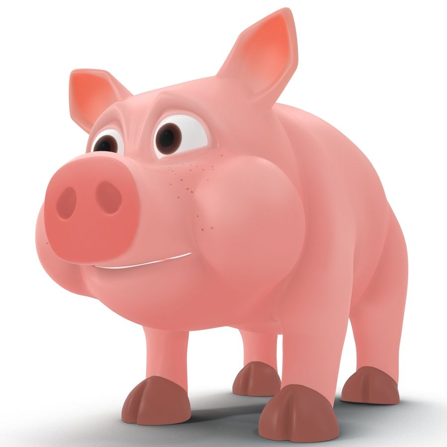 Cartoon Schwein royalty-free 3d model - Preview no. 7
