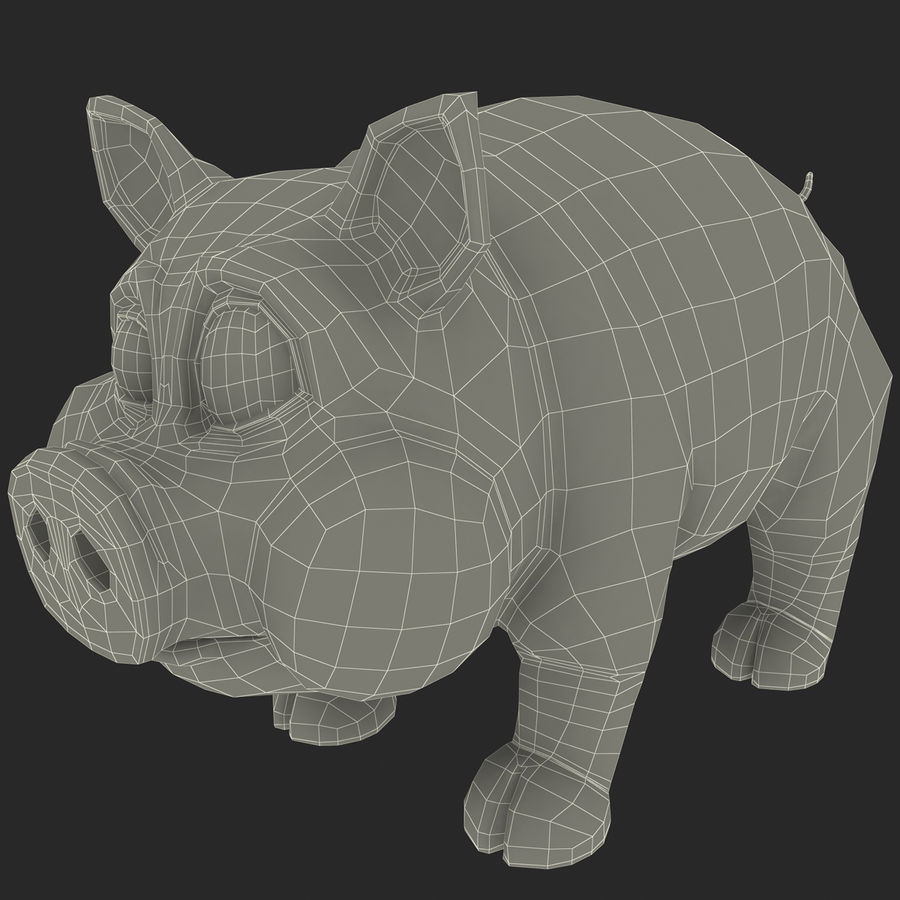 Cartoon Pig royalty-free 3d model - Preview no. 18