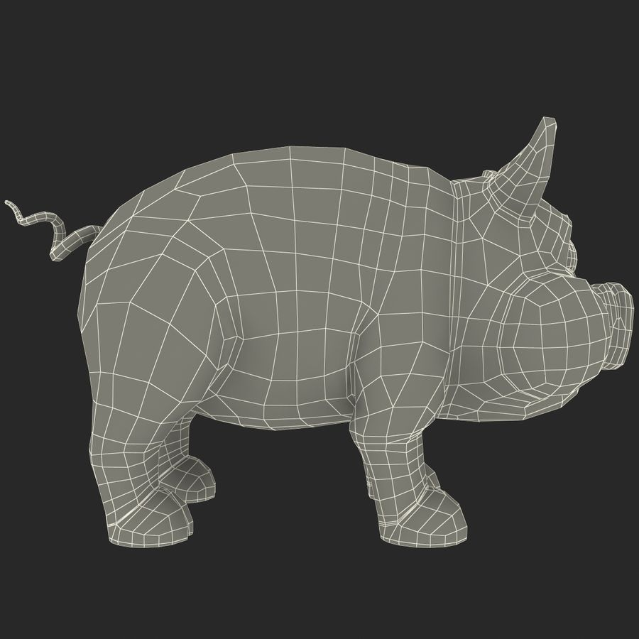 Cartoon Schwein royalty-free 3d model - Preview no. 19