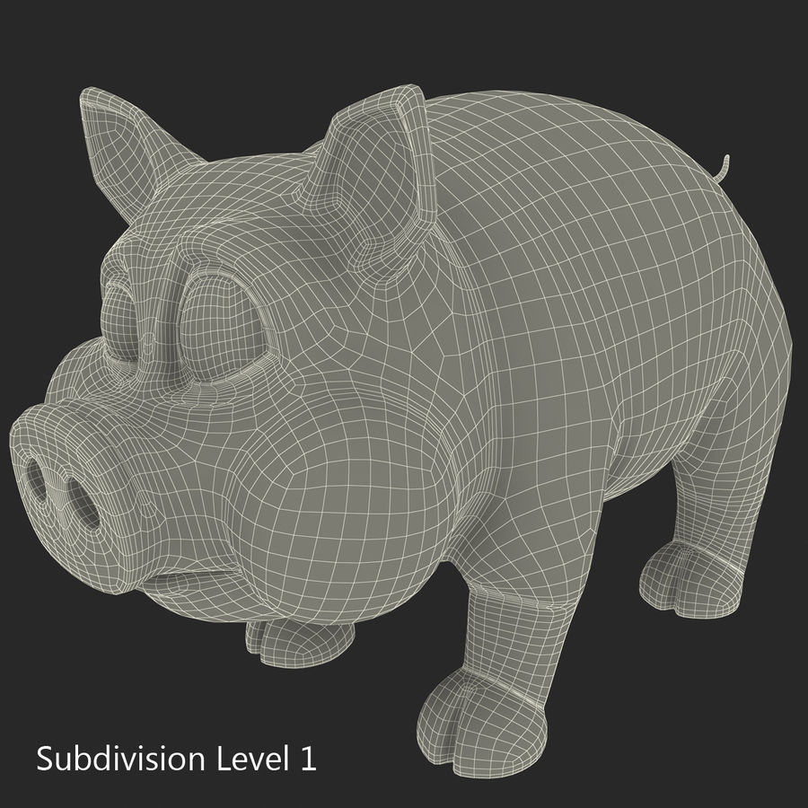 Cartoon Schwein royalty-free 3d model - Preview no. 24