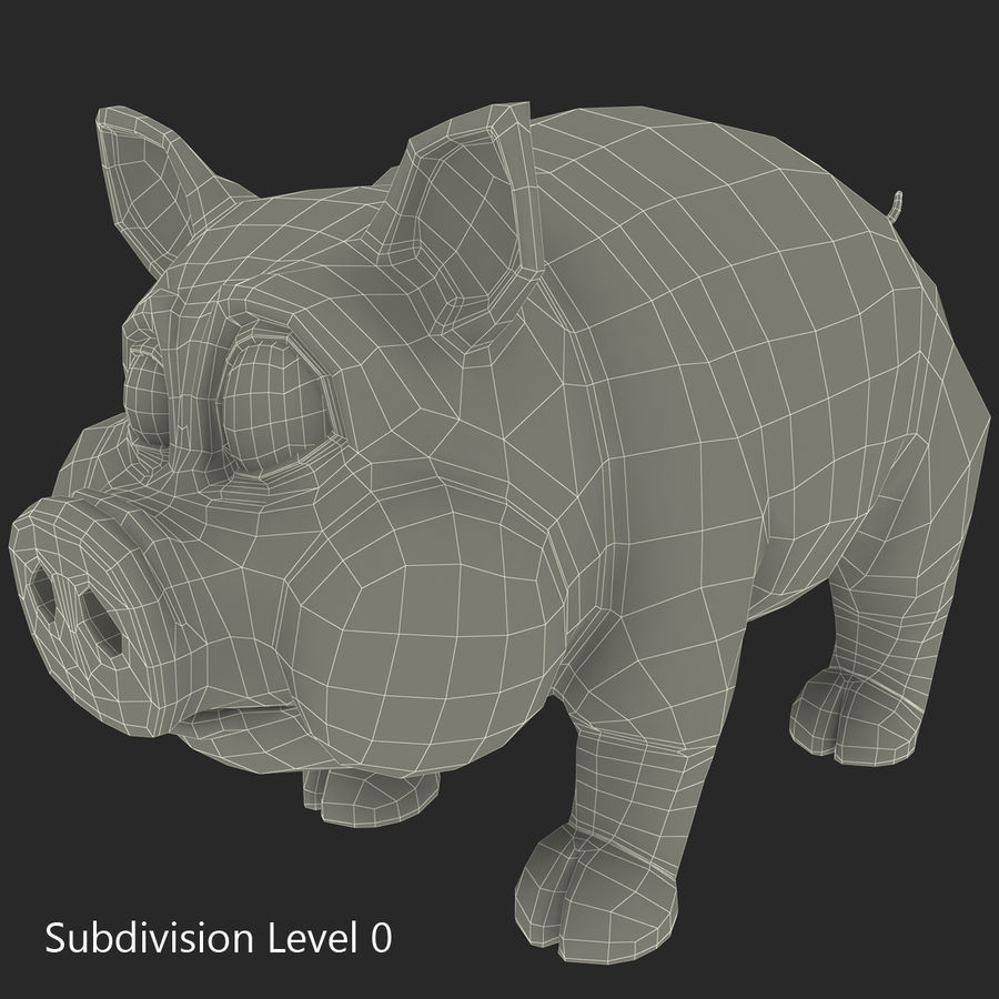 Cerdo de dibujos animados royalty-free modelo 3d - Preview no. 23