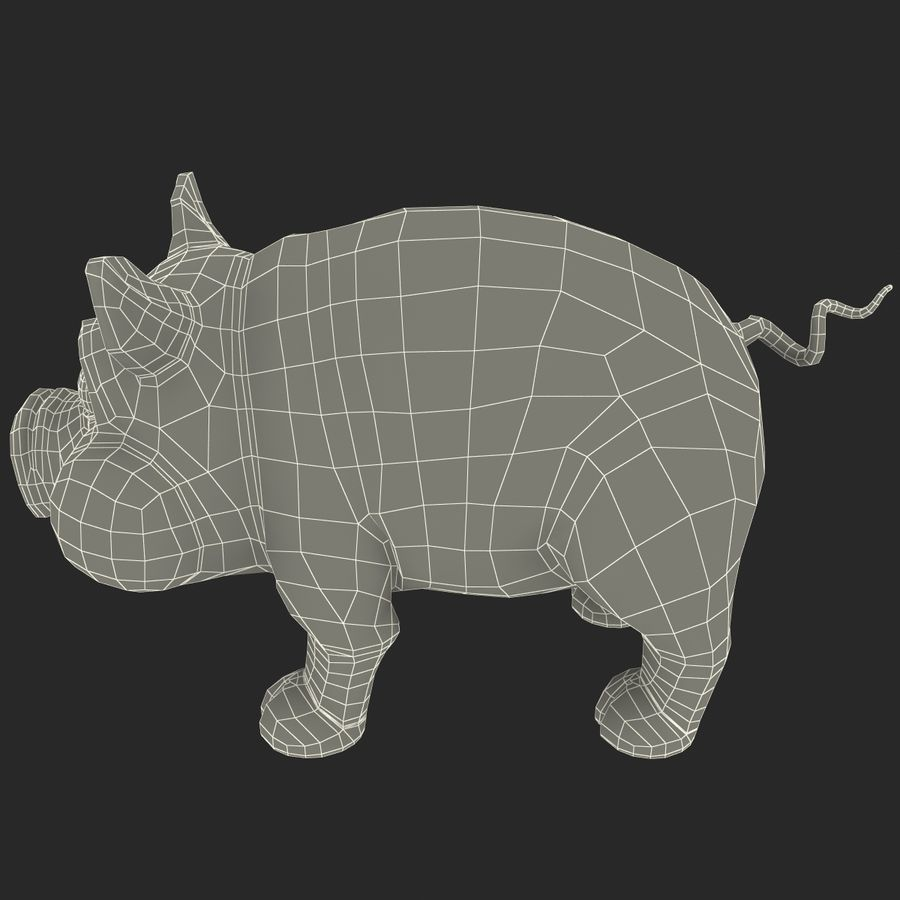 Cartoon Pig royalty-free 3d model - Preview no. 20