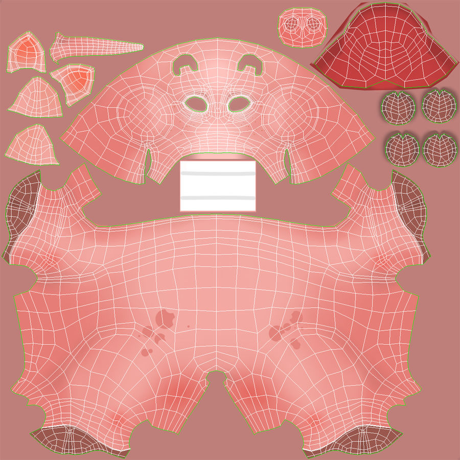 Cartoon Pig royalty-free 3d model - Preview no. 25