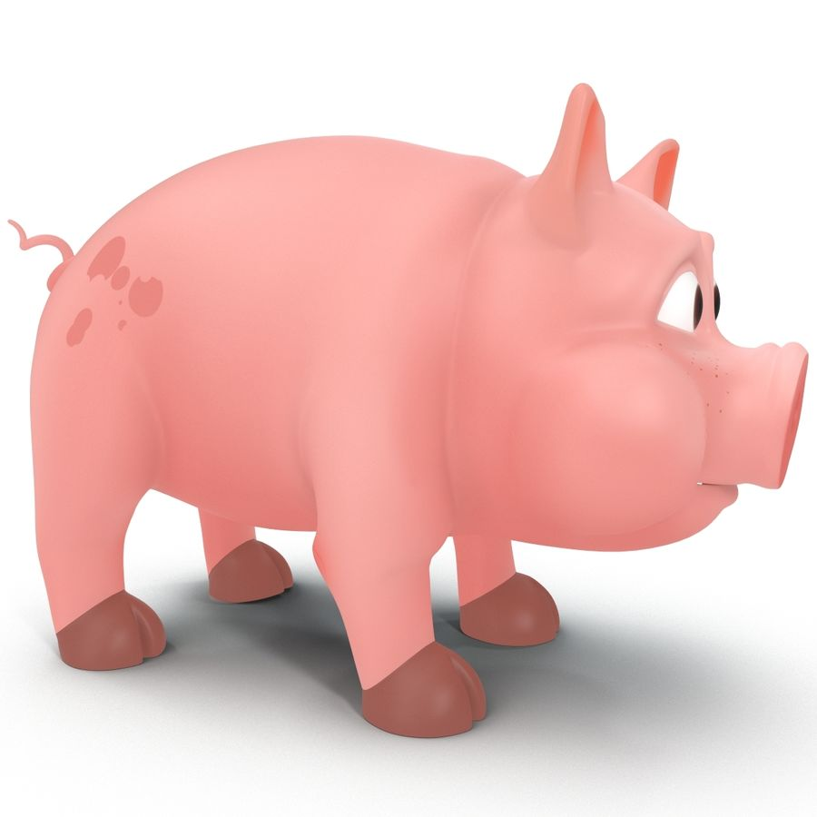Cartoon Schwein royalty-free 3d model - Preview no. 9