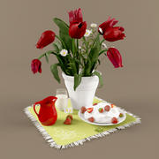 tulips and strawberry 3d model