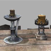Grunge Metal Candleholders 3d model