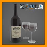 Wine_Bottle_with_Wine_Glasses 3d model