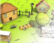 Paquete de dibujos animados modelo 3d