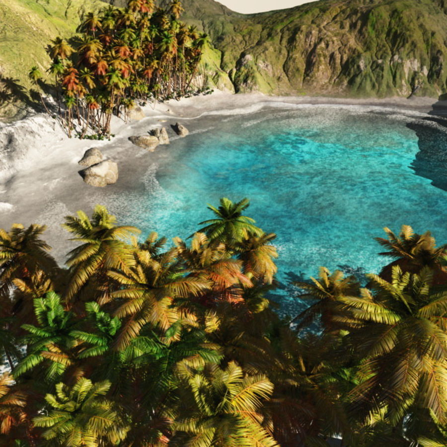 Paradise Beach dla Vue royalty-free 3d model - Preview no. 1