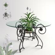 Mesa e planta forjadas Spathiphyllum 3d model