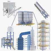 Conjunto de silos industriais 3d model