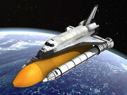 NASA Discovery Space shuttle with rocket and satelite 3d model