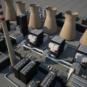 Central eléctrica de carbón modelo 3d