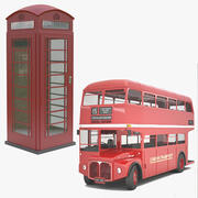 UK Bus & Phone Booth 3d model