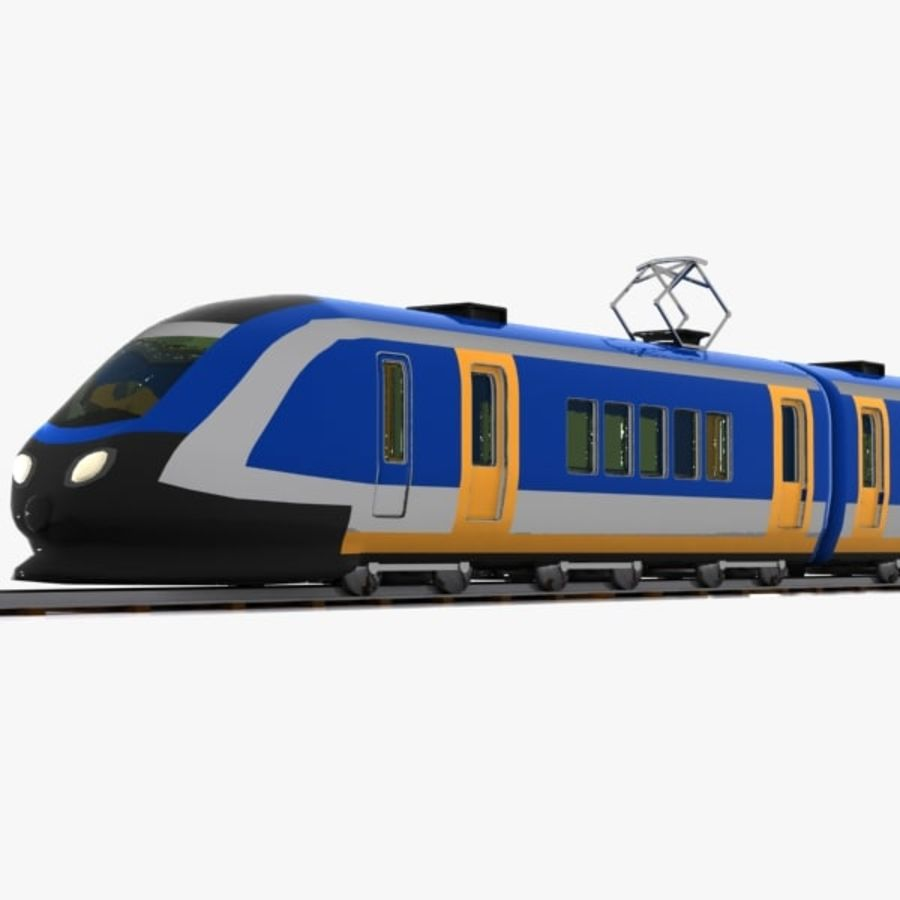 Cartoon High-speed Train royalty-free 3d model - Preview no. 8