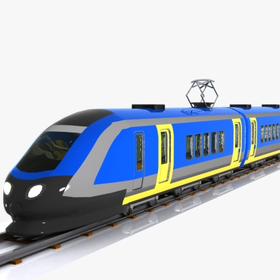 Cartoon High-speed Train royalty-free 3d model - Preview no. 7