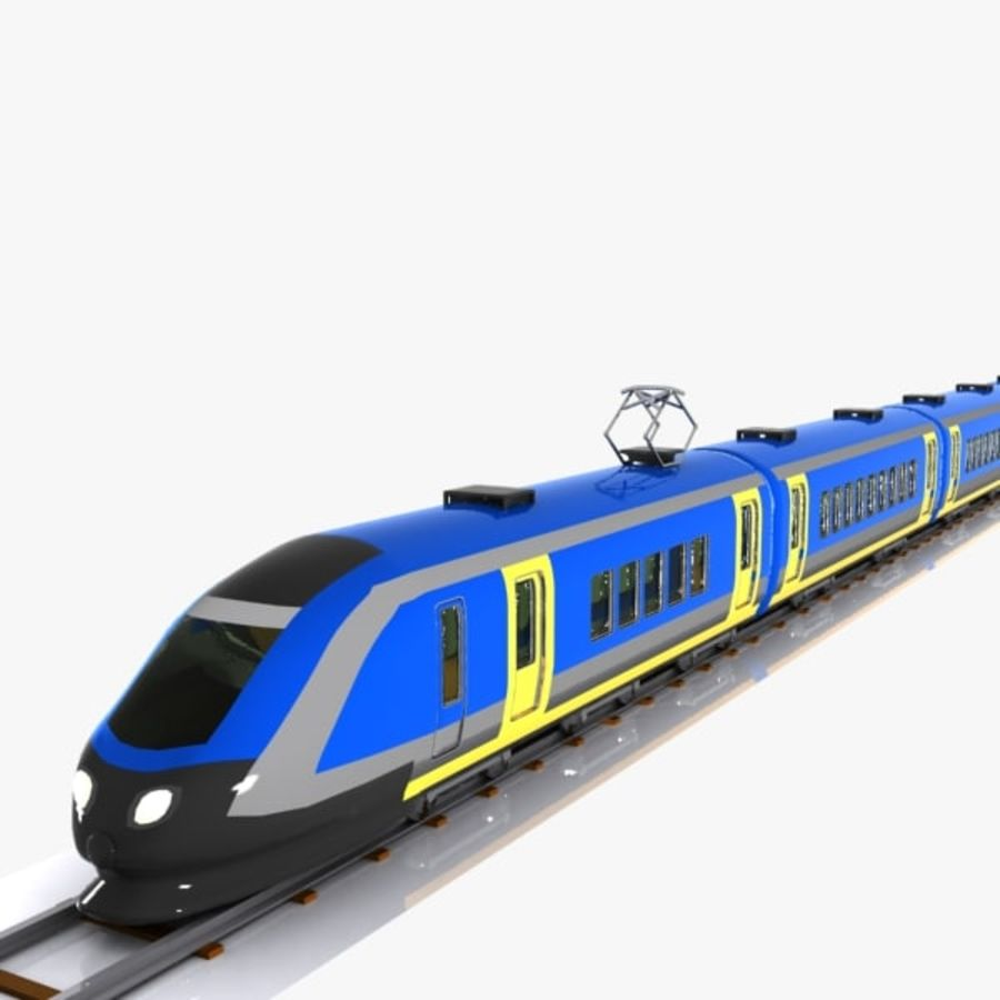 Cartoon High-speed Train royalty-free 3d model - Preview no. 6