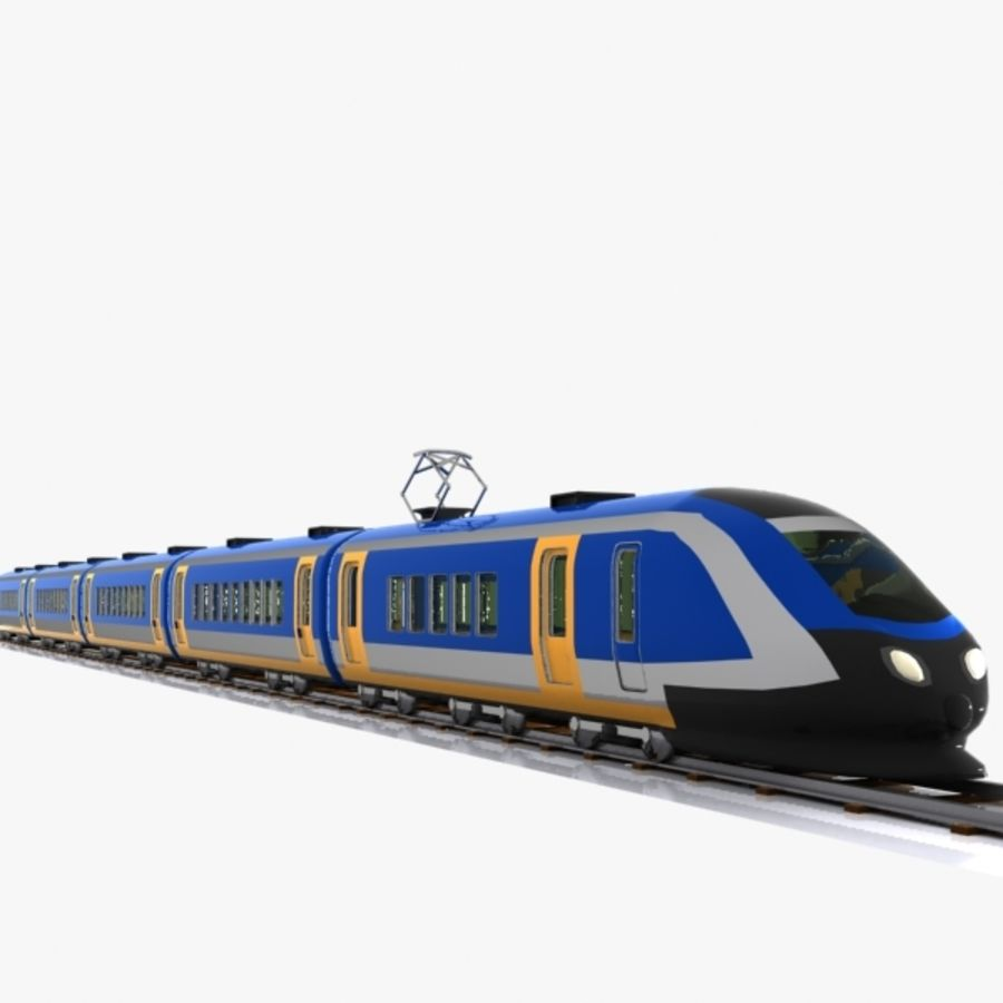 Cartoon High-speed Train royalty-free 3d model - Preview no. 5