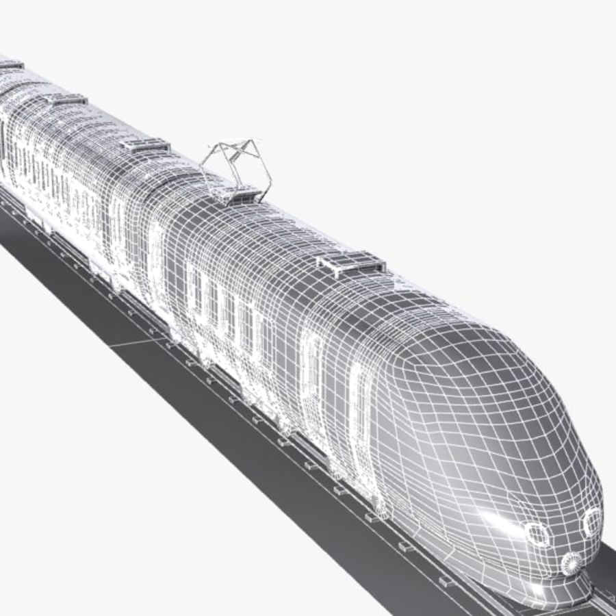 Cartoon High-speed Train royalty-free 3d model - Preview no. 11