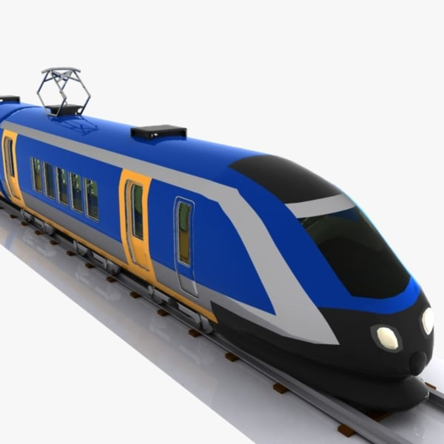 Cartoon High-speed Train royalty-free 3d model - Preview no. 1