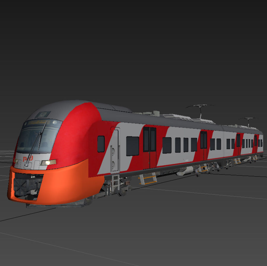 Electric train royalty-free 3d model - Preview no. 2