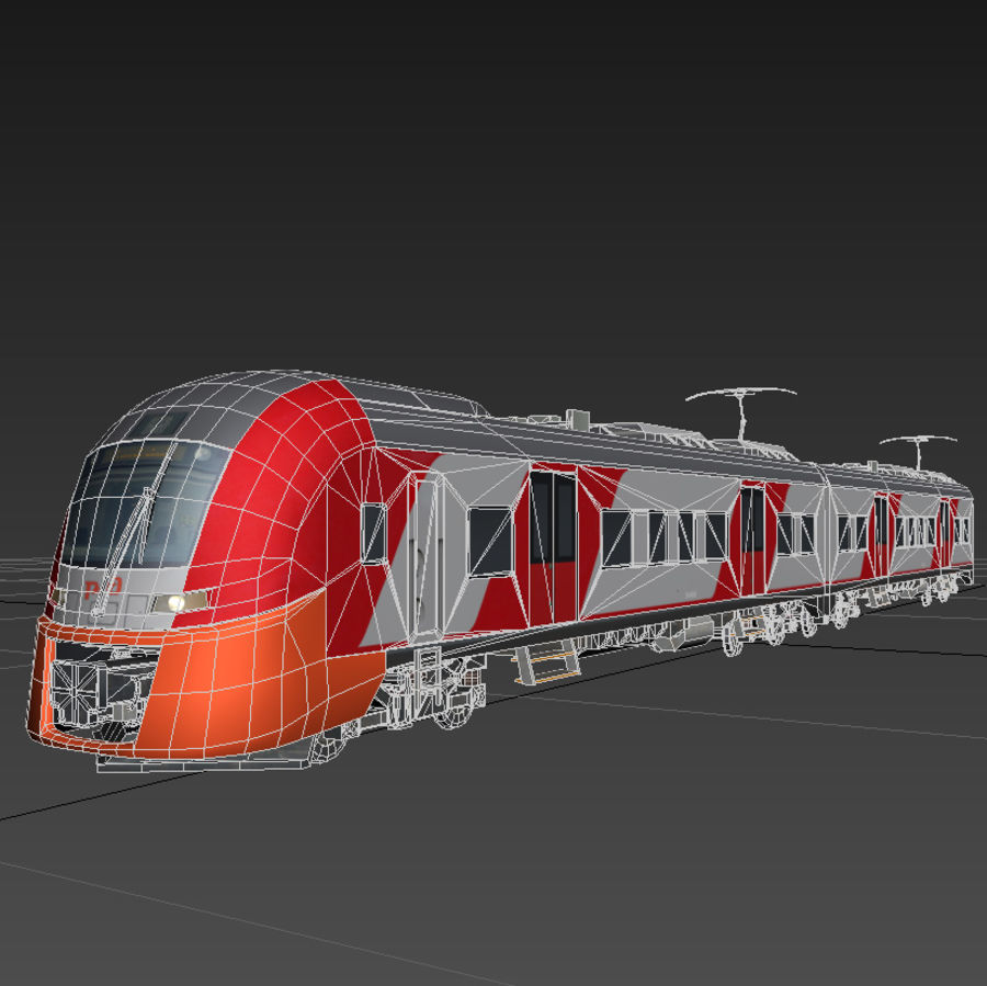 Electric train royalty-free 3d model - Preview no. 3