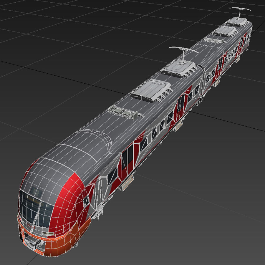 Electric train royalty-free 3d model - Preview no. 9