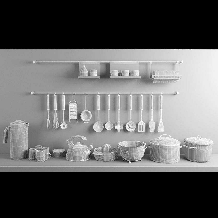 Kaplar ve Tavalar + Çaydanlıklar Seti royalty-free 3d model - Preview no. 8