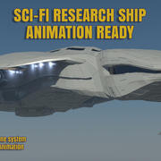 Sci-Fi Research Space Craft 3D Detailed Model Animated 3d model