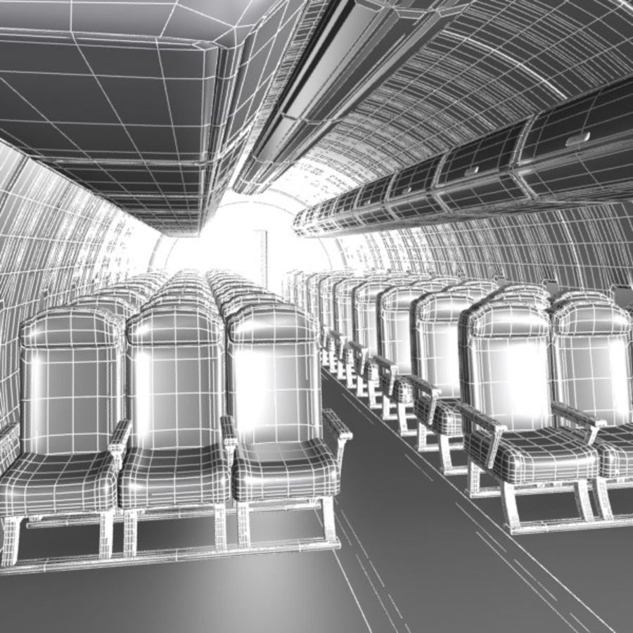 Cartoon Aircraft Cabin royalty-free 3d model - Preview no. 6