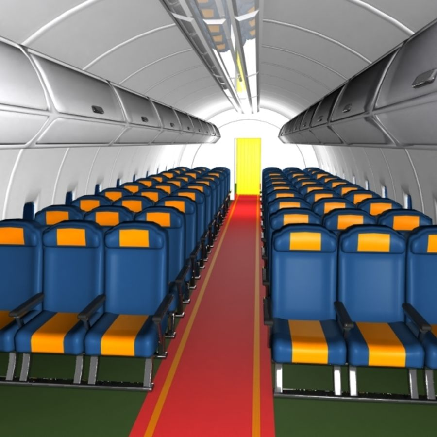 Cartoon Aircraft Cabin royalty-free 3d model - Preview no. 3