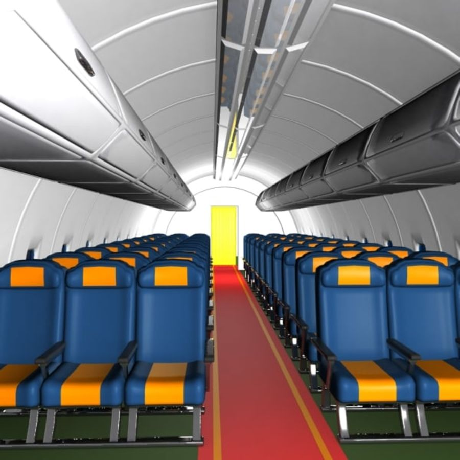 Cartoon Aircraft Cabin royalty-free 3d model - Preview no. 2