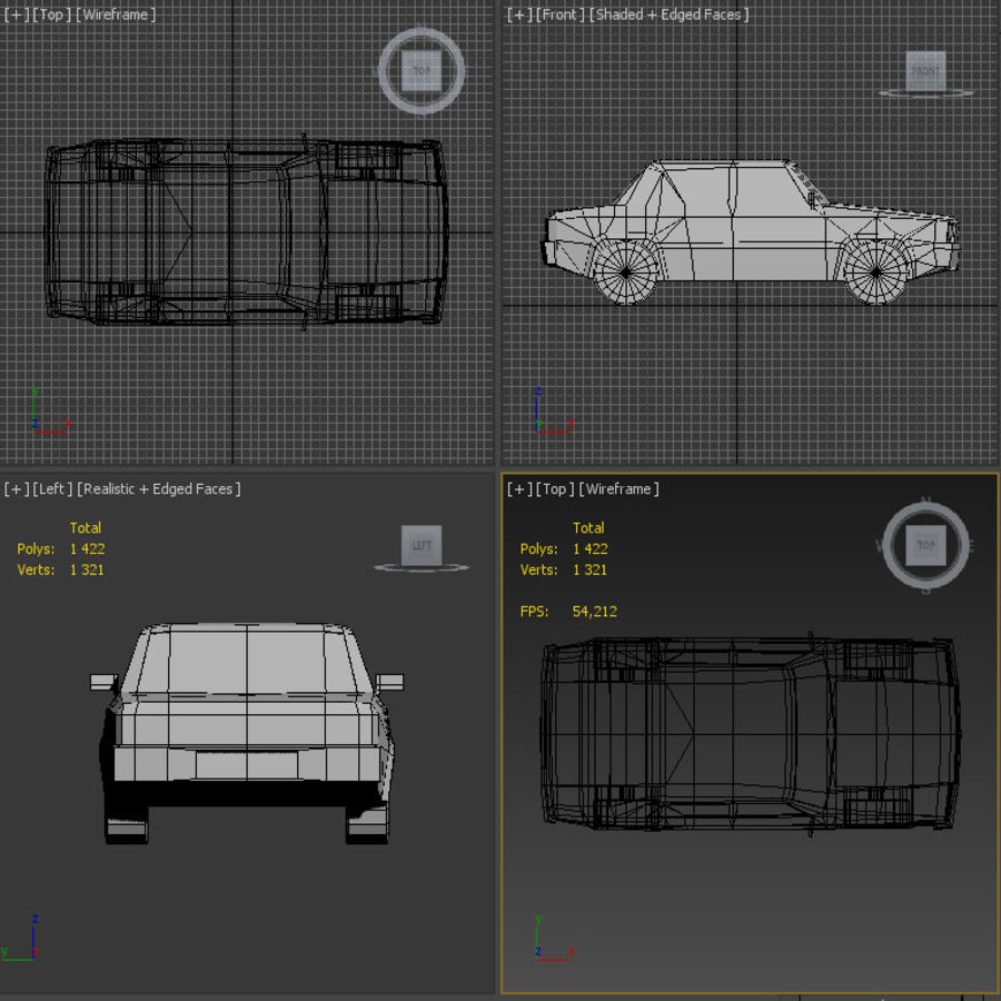 Carro simples royalty-free 3d model - Preview no. 6