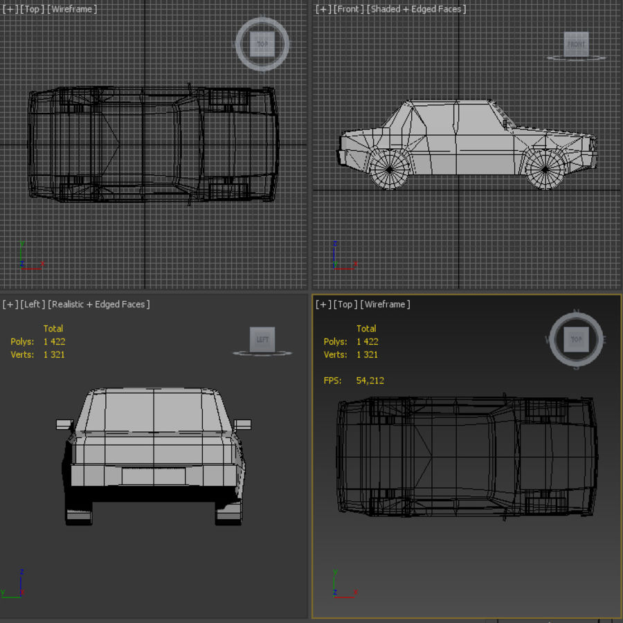 Simple car royalty-free 3d model - Preview no. 6