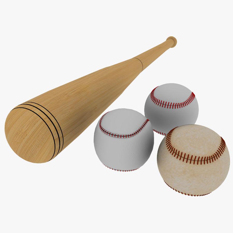 baseball bat and balls royalty-free 3d model - Preview no. 1