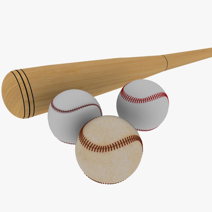 baseball bat and balls royalty-free 3d model - Preview no. 2